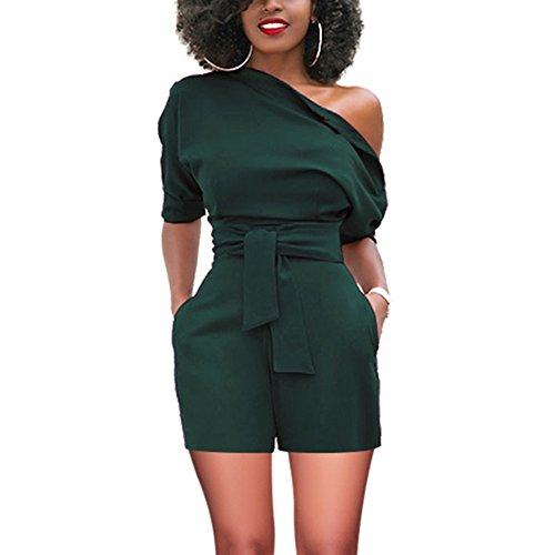 YUMDO Women's Sexy Off Shoulder Romper Ruffle Short Jumpsuit Green L