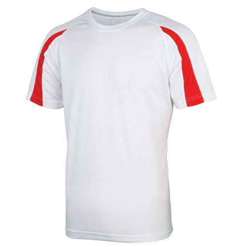 White Contrast Neck T-shirt - Just Cool Mens Contrast Cool Sports Plain T-Shirt (S) (Arctic White/Fire Red)