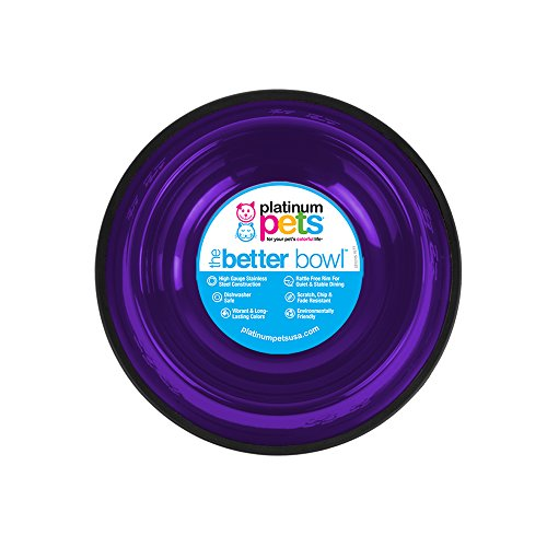 Platinum Pets Non-Tip Stainless Steel Dog Bowl, 50 Oz, Electric Purple, Large