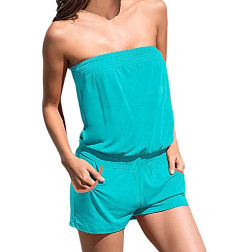Christmas DH-MS Dress Women's Green Summer Fashion Strapless Romper L (Abba Fancy Dress Outfits)