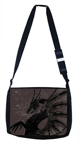 Lea Elliot School Messenger Bag, Black Dragon