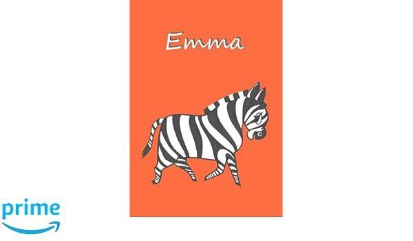 DIN A4 blanko mit kleinem Zebra auf jeder Seite EMMA Malbuch//Notizbuch//Tagebuch Zebra