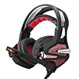 PHOINIKAS USB Gaming Headset GM-9 7.1 Surround Bass Sound Over-Ear Headset with Microphone, LED Lights and Volume Control (Red)