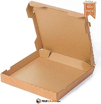 TeleCajas® | (100x) Cajas de Pizzas | Anónimas - Reciclables 100% - Mirocanal Kraft Marrón | Medidas: 33x33 cms | Lote de 100 uds: Amazon.es: Hogar