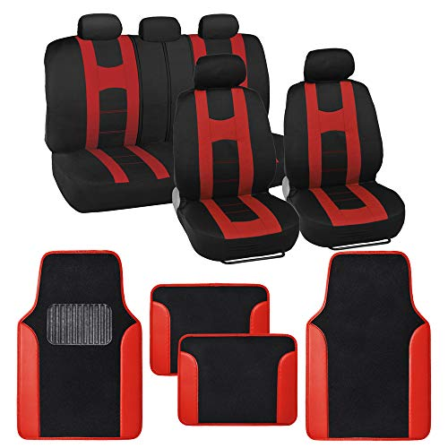 BDK Combo Sport Accent Car Seat Covers (2 Front 1 Bench) Auto Carpet Floor Mats (4 Set) with Heavy Protection Sleek Graphic Two Tone Fresh Design All Protective - Red Accent