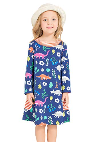 Little Bitty girl printed flower casual toddler cotton long sleeve girl dress,Royal Blue Dinasour,4-5 Years
