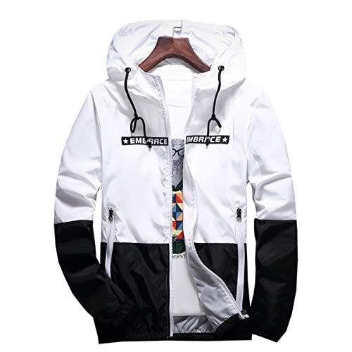 AITFINEISM Men's Lightweight Hooded Zip up Sports Jacket Windproof Windbreaker (Medium, White)