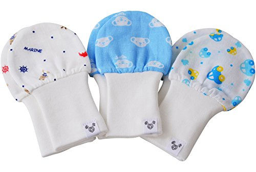 Baby Boy Mittens, 6-12 months, Fits larger hands, Cars, Bears, Nautical, Cotton, Value Pack Set of 3