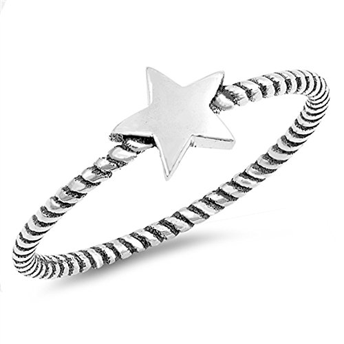Star Rope Stackable Thumb Cute Ring New .925 Sterling Silver Band Size 4