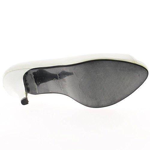 Escarpins bout ouvert grande taille blancs satinés à talon de 13cm