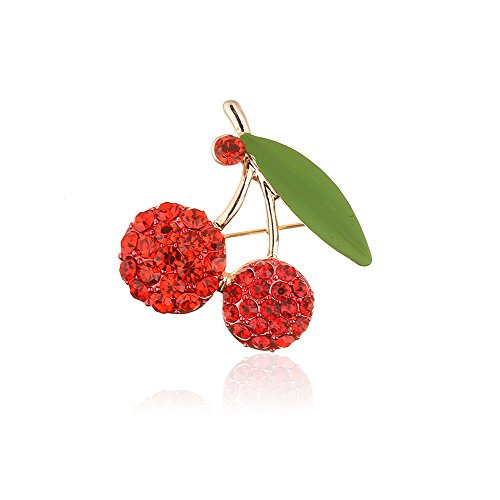 Brooch Pin Fruit (WLLAY Clear Red Crystal Double Cherry Dual Leaf Brooch Pin Women Fruit Jewelry)