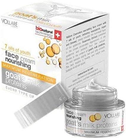 Verona Vollare Proteínas de leche de cabra, 7 aceites, máxima regeneración, crema nutritiva para la cara, día y noche, 50 ml