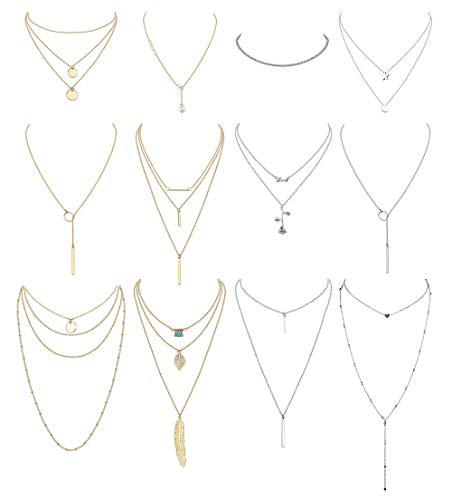 (Finrezio 12 PCS Layered Necklace for Women Girls Multilayer Sexy Long Choker Chain Y Necklace Gold & Silver Tone Bar Feather Pendent Necklace Sets)