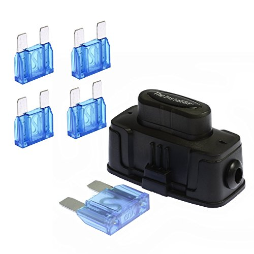 VOODOO Maxi Inline Fuse Holder Fuseholder Install Bay 4 6 8 Gauge (5 Pack 60 AMP FUSES)
