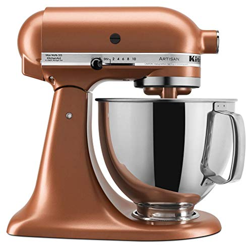 KitchenAid KSM150PSCE Artisan Stand Mixers, 5 quart, Copper Pearl (Renewed)