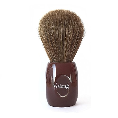 Vie-Long 12705 Horse Hair Shaving Brush, Red Acrylic Handle