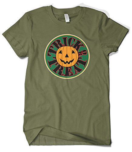 [Cybertela Men's Pumpkin Trick Or Treat Halloween T-shirt (Olive Green, 2X-Large)] (Smiley Horror Mask)