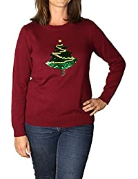 Women's Holiday Reversible Sequin Tree Pullover Sweater