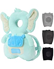 Baby Head Protector & Baby Knee Pads for Crawling, Toddlers Head Safety Pad Cushion Adjustable Backpack, Baby Back Protection for Walking & Crawling, for Age 5-24months, Cute Elephant (CA)