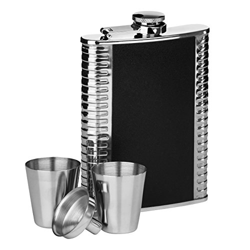 (Premier Housewares Ribbed Stainless Steel Hip Flask Set, 8 oz - Black)