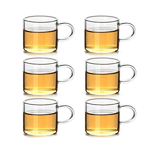 DehuaYao 6 Pieces of Tea Cups with Borosilicate Glass, Best Paired with your Teapot (C-Set of 6) ()