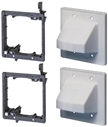Arlington Industries LVCE2 Low Voltage Mounting Bracket with Cable Wall Plate, 2-Gang, 2-Pack