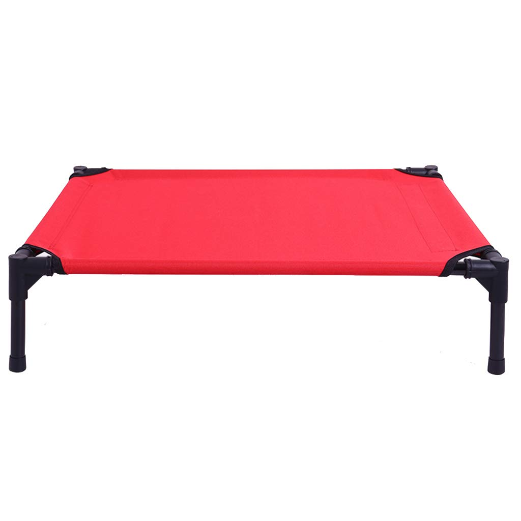 Red S 60×45.5×16cm Red S 60×45.5×16cm Qz Elevated Pet Bed Portable Waterproof Dog Beds, Outdoor Travel, Black Metal Frame, Oxford Cloth (color   RED, Size   S 60×45.5×16cm)