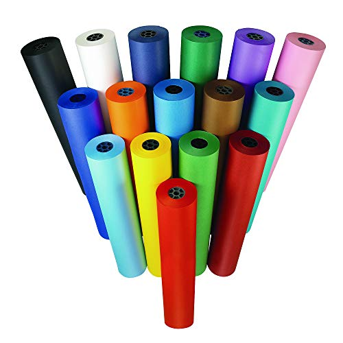 """Price comparison product image Colorations Dual Surface Paper Roll Classroom Supplies for Arts and Crafts Sky Blue (36"""" x 1000')"""