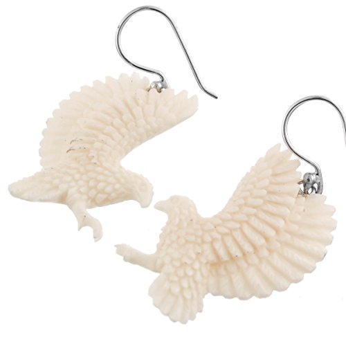 - Hummingbird Colibri Buffalo Bone Hand Carving 925 Silver Earrings, 1 1/4