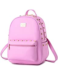 Haolong Girls Simple Design Rivet Backpack PU Leather Backpacks Travel Daypack