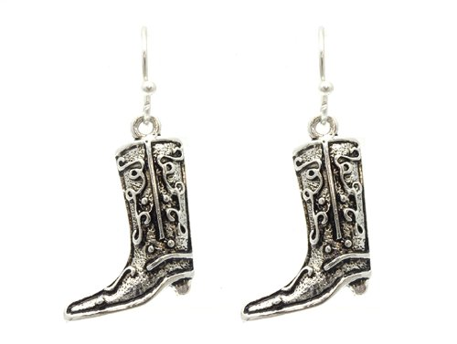 Silver fish hook cowboy boots earring Fashion Jewelry Costume Jewelry fashion accessory Beautiful Charms