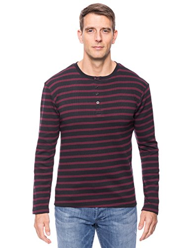 Noble Mount Men's Thermal Henley Long Sleeve T-Shirt - Stripes Black/Fig - Large