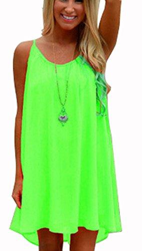 Womens Spaghetti Strap Back Howllow Out Summer Chiffon Beach Short Dress Fluorescent Green