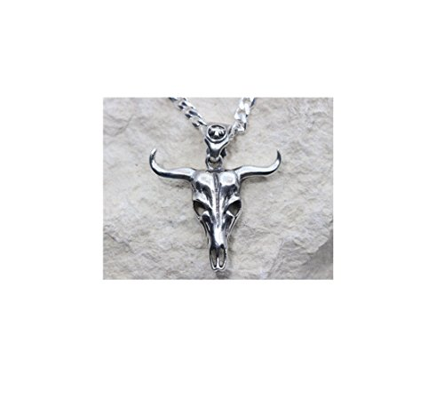 10k WHITE GOLD BULL SKULL NECKLACE, WHITE GOLD MENS BULL SKULL PENDANT AND CHAIN,SKULL BUFFALO,BULL HEAD HORN AVAILABLE.