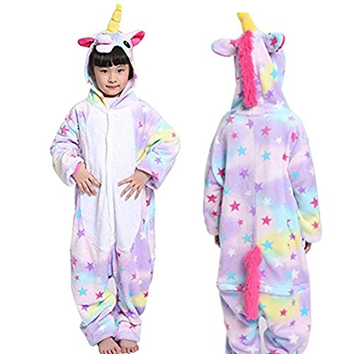 Halloween Cosplay Costume Unicorn Onesie Pajamas OnePiece Animal Outfit Homewear, Satr, Size140 for 53-59
