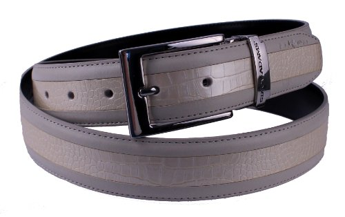 Stacy Adams 6-203 Smooth Grain Leather with Croco Embossed Center Detail Mens (Croco Embossed Belt)