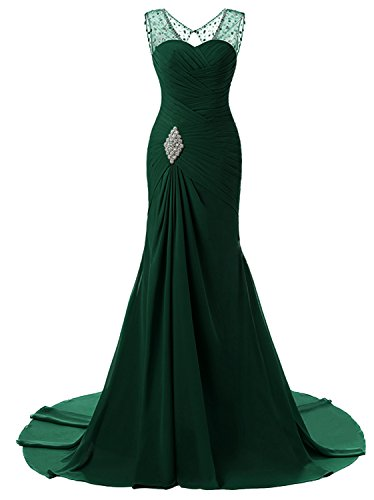 Emerald Gown - Lily Wedding Womens Mermaid Prom Bridesmaid Dresses 2018 Long Evening Formal Party Ball Gowns FED003 Emerald Size14