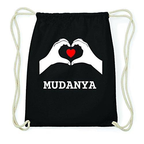 JOllify MUDANYA Hipster Turnbeutel Tasche Rucksack aus Baumwolle - Farbe: schwarz Design: Hände Herz
