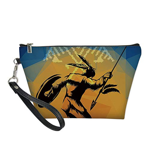 Native American Useful Cosmetic Bag,War Dance Ritual Against Ancient Totem Poly Effect Triangles Abstract for Travel
