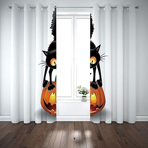 SCOCICI Grommet Blackout Window Curtains Drapes [ Halloween Decorations,Black Cat on Pumpkin Spooky Cartoon Characters Halloween Humor Art,Orange Black] Living Room Bedroom Kitchen Cafe