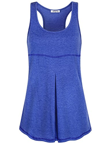 (SeSe Code Scoop Neck Tops for Women, Ladies Petite Sleeveless Tops Scoop Neck Scallop Bottom Shirts Trendy Solid Color Flattering Tunics Fashionable Casual Outing Racerback Blue Medium)