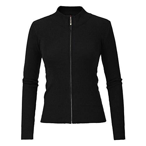Women Knit Zipper Sweater Casual Cardigan Long Sleeve Sweater Tops CU0022 by CURLBIUTY