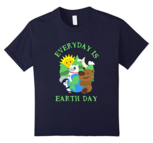 Kids CUTE EVERYDAY IS EARTH DAY T-SHIRT Love Animal Earth Gift 8 Navy (Cute Brother And Sister Costumes Halloween)