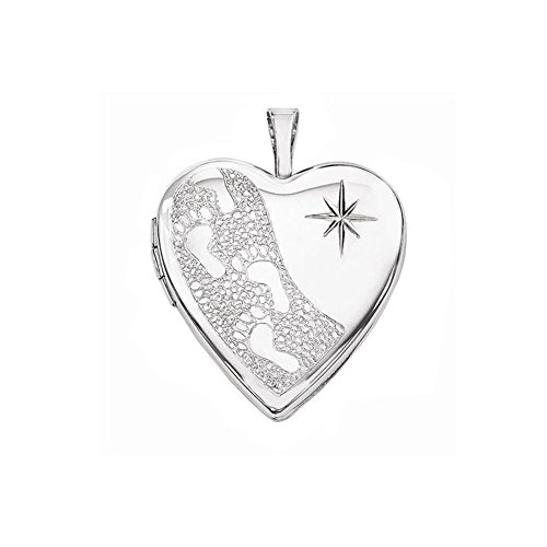 Starburst Heart (Sterling Silver Footprints Locket W/ Starburst Heart Locket - 3/4 Inch X 3/4 Inch (Locket Only))