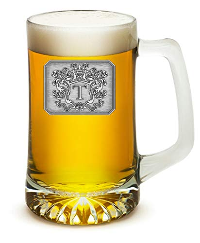 Fine Occasion Glass Beer Pub Mug Monogram Initial Pewter Engraved Crest with Letter T, 25 oz -