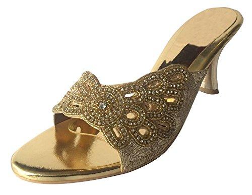 Steg N Style Womens Prom Kväll Part Sandals Skor Hand Broderi Khussa Jutti