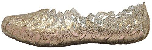 Geometric Women's Toe Shoe Ballet Glaze Gold Round Cutout Flat Laser Jelly wTnqn1UZO