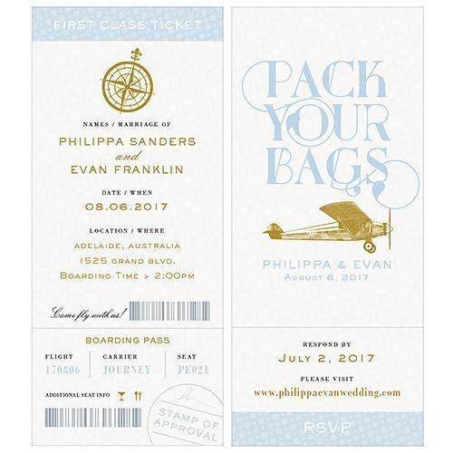 (JM Weddings Vintage Travel Boarding Pass Style Invitation with RSVP Daiquiri Green (Pack of 1) Pastel Blue)