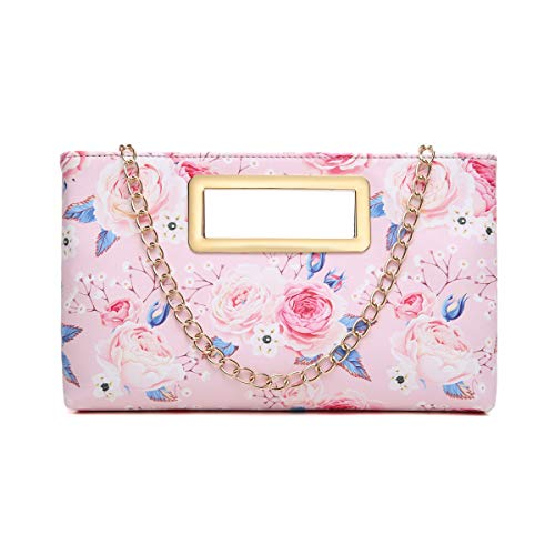 Aitbags Clutch Purse for Women Evening Party Tote with Shoulder Chain Strap Lady Handbag Pink