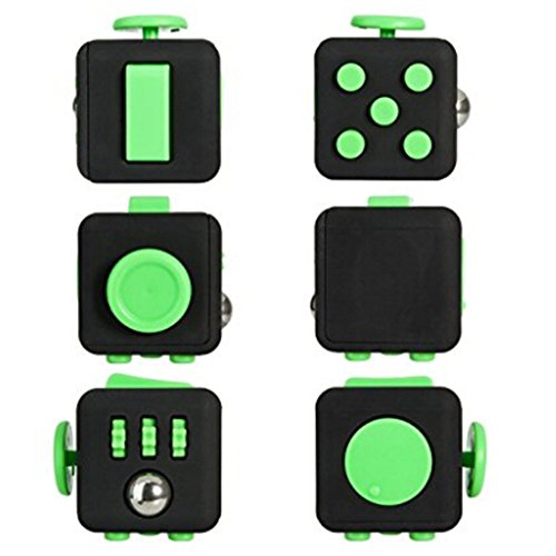 2 Pcs Fidget Dice II and Dice I 12 Sides Fidget Cube and Fidget cube - Stress Anxiety and Boredom Relief Weeambo Anti-anxiety and Depression Toys for Children and Adults (Black / black) - 4